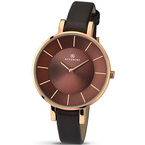 Accurist 8088 Contemporary Rose Gold & Brown Leather Ladies Watch Leather