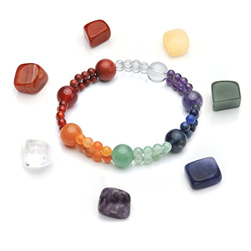 Crystaltears pierres chakra avec ensemble de 7Chakra Netteté Bracelet élastique Guérison Reiki équilibre Perles Yoga méditation kit