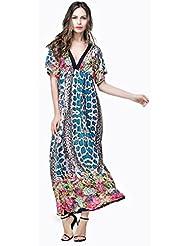 GWCSS Impresión De Seda De Hielo De Gran Tamaño De Vestidos Sueltos Fregona M-6Xl , 1 , L