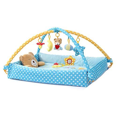 ADATEN Baby Spielmatte Fitness Rack Spielplatz Kleinkind Krabbeln Teppich Falten Weich Bett Musik Aktivitätscenter Tuch Puppe Früherziehung Puzzle Spielzeug,Blue