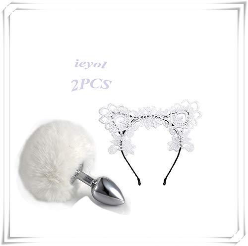 IEYOL White Rabbit Schwanz Pl¨¹sch Ball und Stirnband mit Fuchs Ohren Cosplay Set