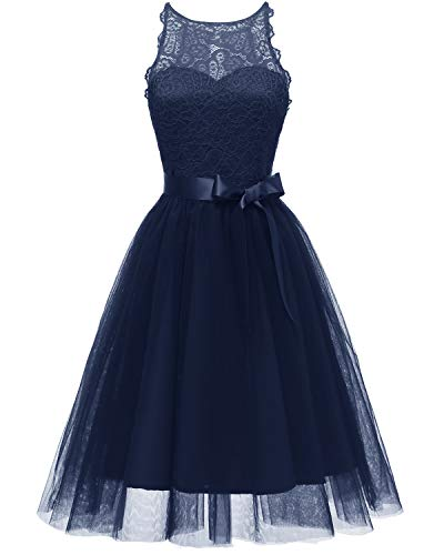 Viloree Elegant Damen Spitze Tüll Kleider Tutu Rock Party Swing Cocktail Knielang Navy 2XL