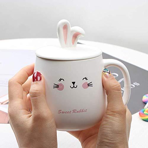 Moonyue Kreative süße Hase Studentin Büro Haushalt Trinkwasser Tasse Tasse rosa Kaninchen Keramik Becher mit Deckel Löffel 400ml E (Keramik Kaninchen Hase)