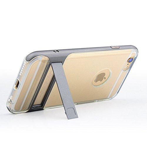 BCIT iPhone 6 Plus Custodia - ibrida Morbido resistente agli urti + Bumper Frame Dual Layer Case con Supporto di protezione per iPhone 6 Plus - Trasparente Rose Oro Trasparente & Grigio