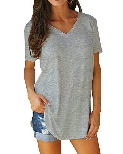 Basic T-shirt Top (Yidarton Damen Sommer T-Shirt Basic Kurzarm Tops V-Ausschnitt Lockere Oberteile Solide Casual Shirts, Grau, L)
