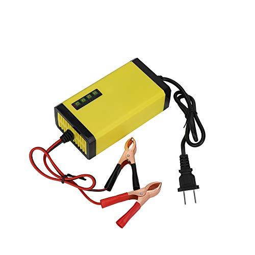 Tonysa 12V 2A Smart Batterieladegerät Tragbare Batterie mit Clips Schnelles Aufladen Wasserdichtes Erhaltungsladegerät mit Display Intelligenter Schutz für Auto Boot Rasenmäher Marine Batterie(EU) -