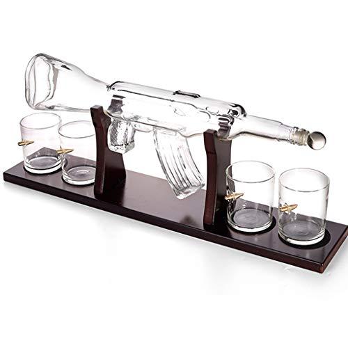 800Ml Gun Große Wein Dekanter Weinkaraffe Und Belüfter Set, Holzsockel, Gewehr Whiskey Decanter Karaffe Mit 4 Kugel Whiskygläser
