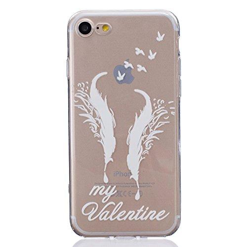Coque iPhone 7 Silicone, LuckyW Housse Etui TPU Silicone Clear Clair Transparente Gel Slim Case pour Apple iPhone 7 7S(4.7 pouces) Soft de Protection Cas Bumper Cover Converture Anti Poussières Couver My Valentine oiseau de plumes