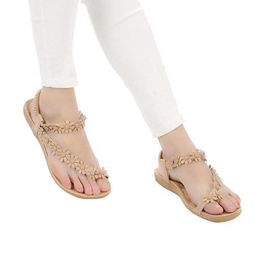 Encounter Femme Fille sandales Chaussure Été Bohémien plates Clip Toe Fleurs Brides Anti-Dérapage Beige