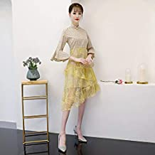 53176d84a4aa Shiduoli Abito Medio Asiatico Tradizionale Cinese Orientale delle Donne  Cheongsam del Vestito dalla Manica della Tromba