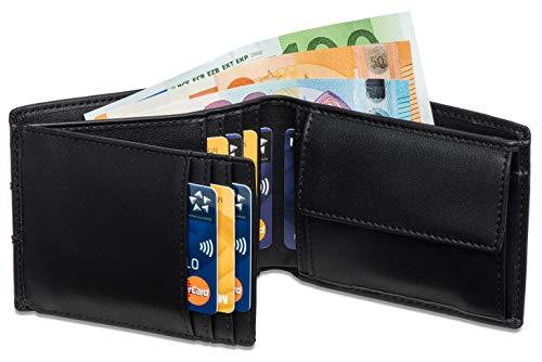 Geldbeutel mit Münzfach - 10 Kartenfächer RFID Schutz - Ideal als Geschenk für Herren - Geldbörse mit Edler Geschenkbox – Panther