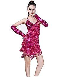 2a0095958 Zgsjbmh Mujeres Ropa de Baile Sin Respaldo Lentejuelas Borlas Salón de Baile  Samba Tango Traje de