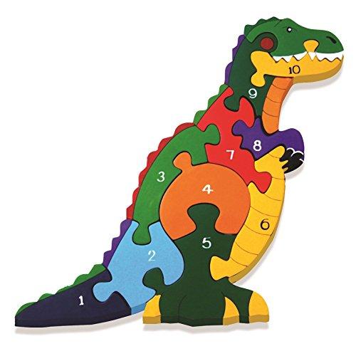 Alphabet-Jigsaws-Puzzle-fabriqu--la-main-en-bois-en-forme-de-dinosaure-T-Rex