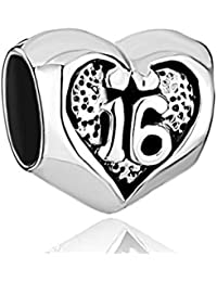 """Uniqueen Sterlingsilber-Herzperle, Geburtstag """"Sweet 16"""", Glücksbringer, passend für """"Pandora Chamilia Charm""""-Armbänder, Geschenkidee"""
