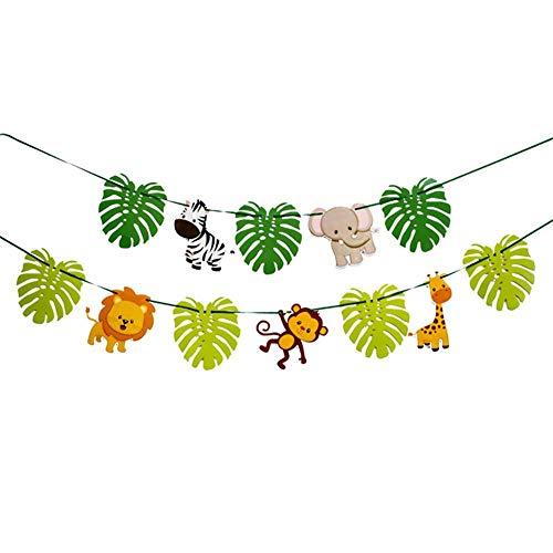 Mehrfarbig Wimpel,3 Mt Papier Neue Cartoon Tier Dschungel Thema Ammern Geburtstag Hochzeit Ammern Banner Party Dekoration ()