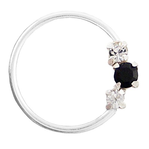 PCM- 92.5 Sterling Silver Nose Pin White Black Swarovski Silver Nose Ring For Women