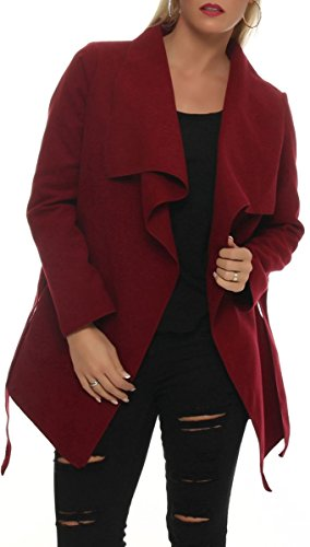 malito kurzer Mantel mit Wasserfall-Schnitt Jacke 3041 Damen One Size (bordeaux)