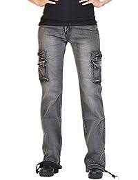 Glamour Outfitters Jean de Cargo/Combat à Jambes Larges Délavé Vintage - Gris
