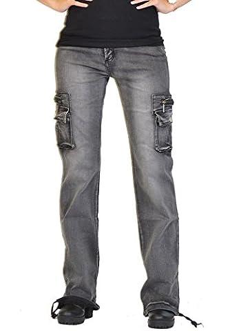 Damen Cargo-Hose - Weites & langes Bein - Grau (44) (Damen Cargo-stil Jeans)