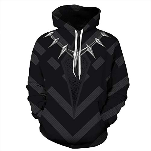 Unisex Paare Black Panther Hooded Sweatshirt 3D gedruckt Quick Dry Sweat Shirt Langarm Hoodie Taschen Top WY-09 (Color : Multi-Colored, Size : S/M)