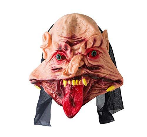Vinyl Kostüm Maske - LZGBH Halloween Horror Maske Scary Ghost Tongue Maske Ekelhaftes Vinyl Blutiges Halloween Kostüm Maskerade Party Requisiten,B
