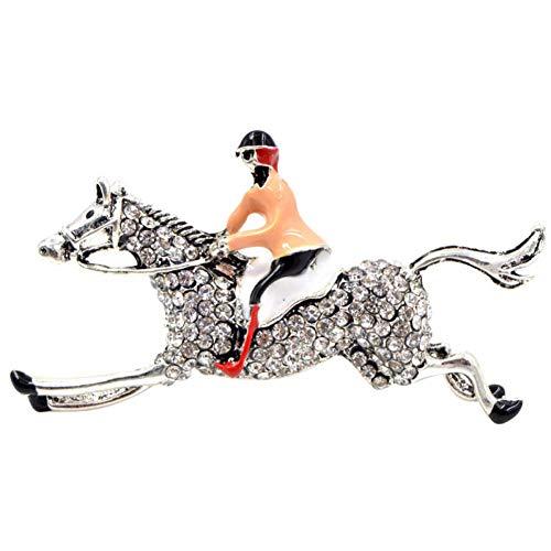 CCJIAC Strass Reiter und Pferd Broschen für Frauen und Männer Cute Animal Brosche Pin Fashion