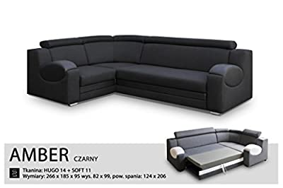 UNIVERSAL HAND CORNER SOFA BED - AMBER BLACK- FABRIC & FAUX LEATHER 266x185CM by Megan Furniture