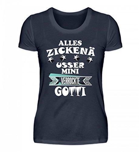 Shirtee Hochwertiges Damen Organic Shirt - ZICKENÄ - usser mini verrockte GOTTI Tiefblau