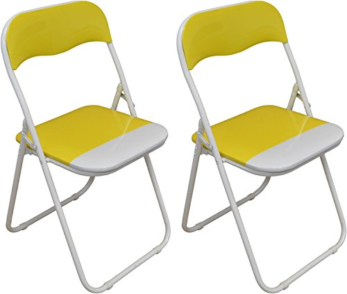Klappstuhl - gepolstert - Gelb/Weiß - 2 Stück