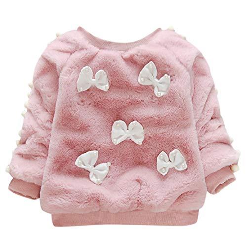 happy event_baby Kinder Mädchen Lange Ärmel halten warme Bowknot Villus Coat Tops Kleidung (Wassermelonenrot, 2-3 Years-12)