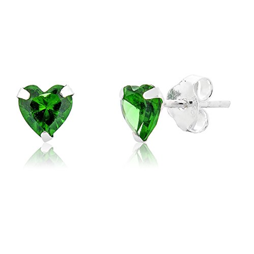 Smaragd-herz-swarovski-ohrringe (DTPsilver - Damen - Ohrringe 925 Sterling Silber mit Kristall aus Swarovski Elements Herz - Farbe : Smaragd - Ohrstecker)