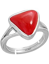Clara Trikona Coral Moonga 6.5cts or 7.25ratti Stone 92.5 Sterling Silver Adjustable Ring for Men