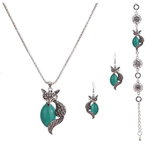 Yazi Lind tibetanische Silberne placa Fox palomitas Cadena turquesa collar pendientes pulsera para mujeres joyas
