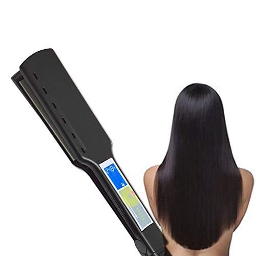 Plancha para el pelo, la placa de pantalla táctil anchura recta artefacto rizar el cabello varilla de titanio LCD férula eléctrica recta volumen dual para todas las placas alisado del cabello