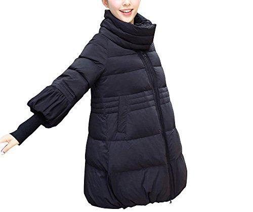 Jack Mall- Fashion Trend inverno Cotone Donna vestiti in giacca lunga sezione abbigliamento invernale giù Cotone Abbigliamento ispessimento cotton-padded del cappotto del rivestimento ( colore : Nero , dimensioni : XXL )