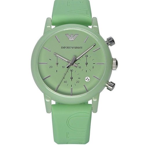 Emporio Armani Women Watches, Men Wrist Chronograph Look Watch with Date and Silicone Strap.