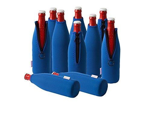 Neopren Flaschenkühler, Weinkühler, Getränkekühler (10er Spar-Set 0.5 Liter, Blau)