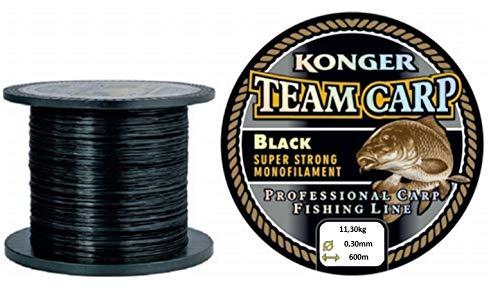 Konger Angelschnur Karpfenschnur Team CARP Black 600m Monofile Feeder (0,30mm / 11,30kg)