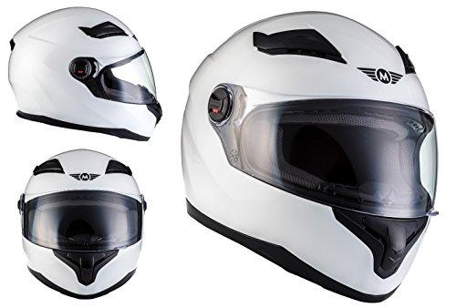 MOTO X86 Racing Matt White · Sport Cruiser Scooter Urban Helmet Urbano Moto Casco Integrale · ECE certificato · compresi visiera · compresi Sacchetto portacasco · Bianca · L (59-60cm)