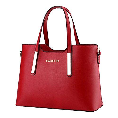 Frauen PU Leder Henkeltaschen Schultertaschen Tasche Handtasche Umhängetasche Damen (Handtasche Rote)