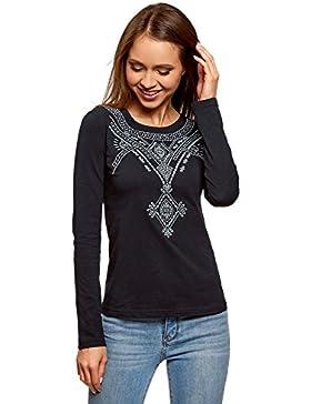 oodji Ultra Donna T-Shirt con Maniche Lunghe e Ricamo