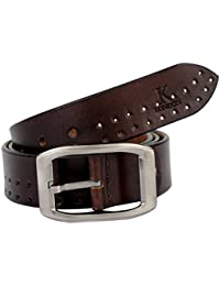 K London Men Casual, Evening, Party Brown Genuine Leather Belt (brn_dbl_punch)