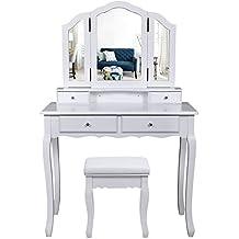 Songmics grande coiffeuse table de maquillage avec 3 miroir, 4 tiroirs, séparations pour tiroir et tabouret,fixée au mur, style champêtre blanc RDT07W