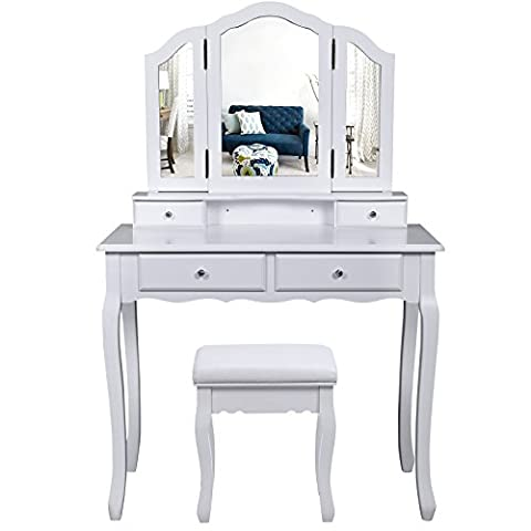 Songmics Wall-Fixed White 3 Mirror Dressing table with stool, 4 Drawers Incl. 2 Dividers Make-up Dresser