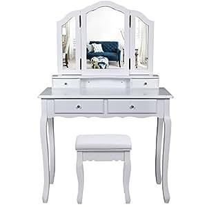 Songmics grande coiffeuse table de maquillage avec 3 for Coiffeuse meuble en anglais