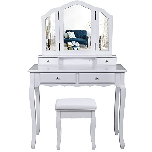Songmics Schminktisch 3 Spiegel mit Hocker u. 4 Schubladen inkl. 2 Stück Unterteiler, Kippsicherung,weiß RDT07W