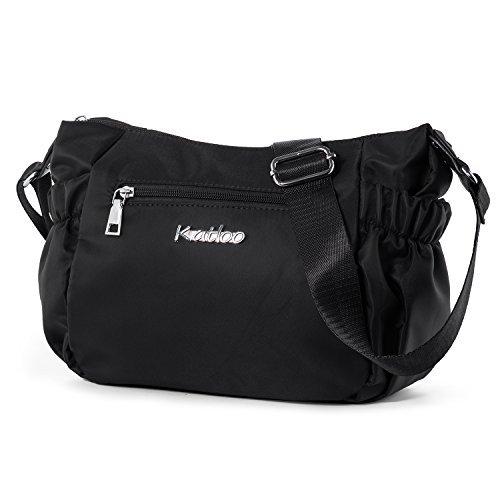 Katloo Damen Shopper Umhängetaschen, Kleine Handtasche Freizeit Schultertasche Frauen Mädchen Teenager Uni Tasche Reisetasche mit Vielen Praktischen Taschen Nylon (Schwarz) Schwarzer Nylon-tasche