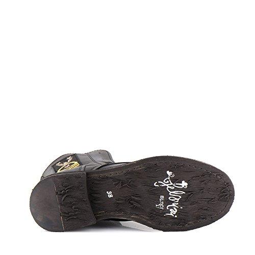 Felmini - Chaussures Femme - Tomber en amour avec Gredo A286 - Bottes MilitairesCuir Véritable - Noir Noir