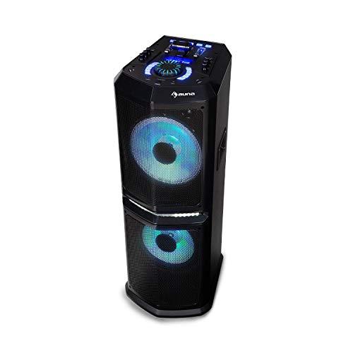 auna Clubmaster 8000 Party-Audiosystem • Party-Lautsprecher • Bluetooth • bis 8000 Watt P.M.P.O • 2 x 10 Subwoofer • FM/UKW Radiotuner • USB-Port • LED-Lichteffekt • inkl. Fernbedienung • schwarz