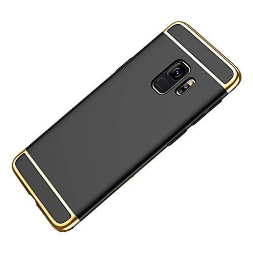 Galaxy S9 Hülle Case, 3-Teilige Extra Dünn Hart Slim Thin Hard Cover Stylich Hochwertig Schutzhülle Schale Handy Hülle für Samsung Galaxy S9-5.8 Zoll [3 in 1] (Galaxy S9, Schwarz)